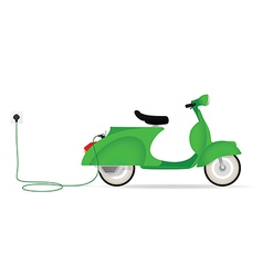 Vintage styled electric moped charging vector image vector image