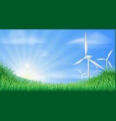 wind turbines landscape vector image vector image