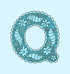 Cute letter Q Floral monogram Q vector image
