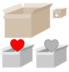 grey and light brown present box with heart for vector image