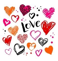 Grunge Valentine hearts on white background vector image