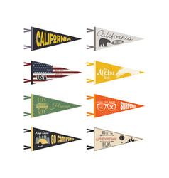 set of adventure pennants pennant explore vector image