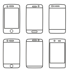 Smartphone icon set isolated on white vector image vector image