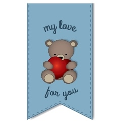 Teddy bear with the big heart -label vector image