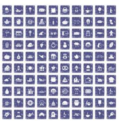 100 bounty icons set grunge sapphire vector