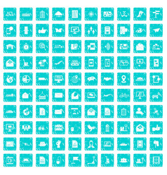 100 post and mail icons set grunge blue vector