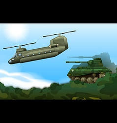 A military tank and a helicopter vector image