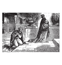 a pharisee and a publican pray in the temple vector image