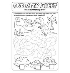 Activity sheet dinosaur theme 1 vector