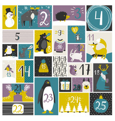 advent calendar with forest animals vector image