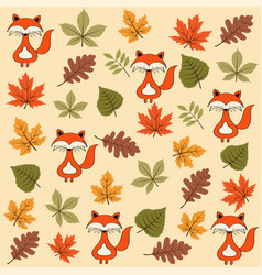 autumn seamless pattern with leaves and foxes vector image