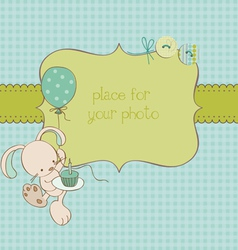 Bagreeting card with photo frame and place vector