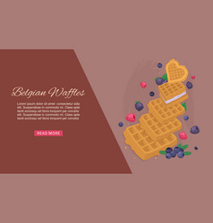 belgian waffles with ice cream and berries cafe vector image