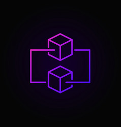 Blockchain colored outline icon on dark vector