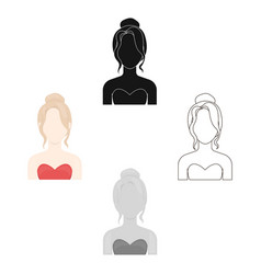 Blonde icon cartoonblack single avatarpeaople vector