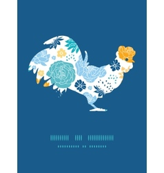 blue and yellow flowersilhouettes rooster vector image