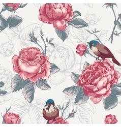 Botanical floral seamless pattern with roses and vector image
