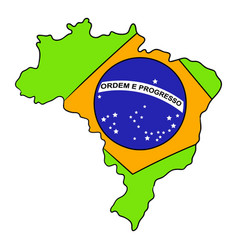 Brazil map and flag icon cartoon vector