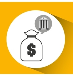 building bank economy bag money vector image