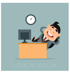 business concept of a lazy worker at his work vector image