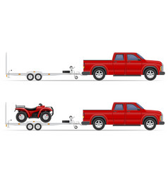 Car pickup with trailer 03 vector