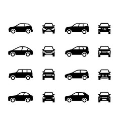 Cars front and side view signs vehicle black vector