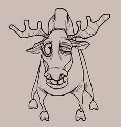 Cartoon horned dried elk winks in pencil drawing vector