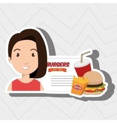 child cartoon girl fast food vector image