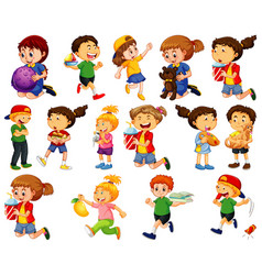 Children doing different activities cartoon vector