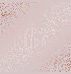 christmas card rose gold hand drawing vector image