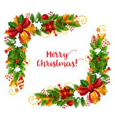 Christmas frame with xmas garland greeting card vector