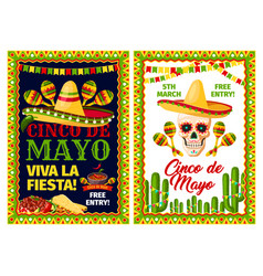 Cinco de mayo mexican holiday card of fiesta party vector