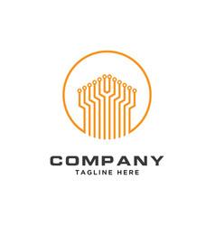 circuit logo for tech companytechnology logo vector image