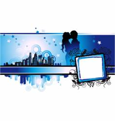cityscape urban frame couple silhouette vector image