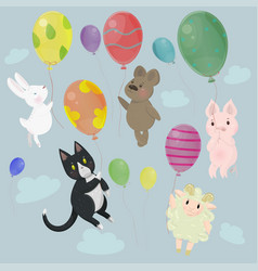 collection with cute animals with balloons image vector image