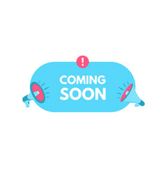 coming soon megaphone with bubble speech sticker vector image