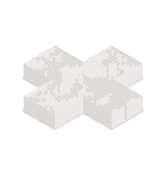 complicated labyrinth in cross shape in isometric vector image