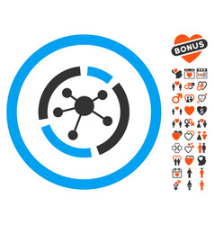 connections diagram icon with love bonus vector image