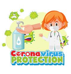 coronavirus protection banner with doctor cartoon vector image