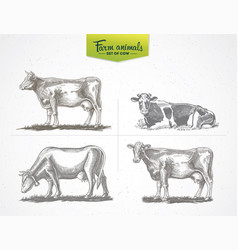cows in graphic style a set four images vector image