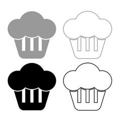 cupcake icon outline set grey black color vector image