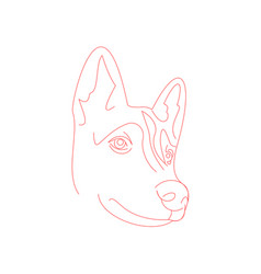 Cute husky dog face minimal line-art vector