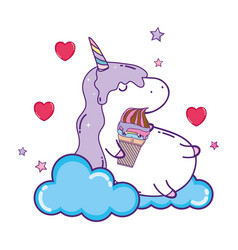 cute ice cream with cloud and unicorn kawaii vector image