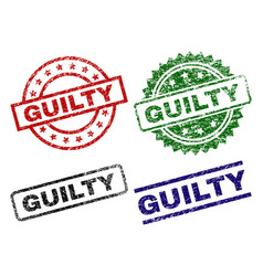 Damaged textured guilty stamp seals vector