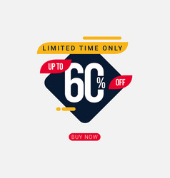 Discount up to 60 off limited time only template vector