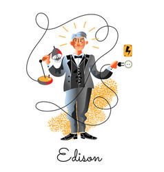 Edison great discoverer holding lamp and plug vector