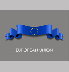 European union flag wavy ribbon background vector