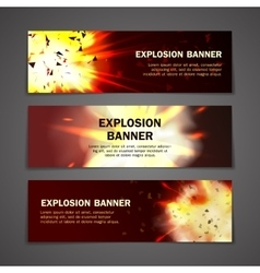 Explosions banners set vector