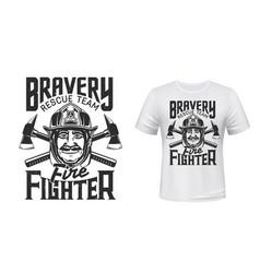 firefighter t-shirt print fireman helmet axes vector image