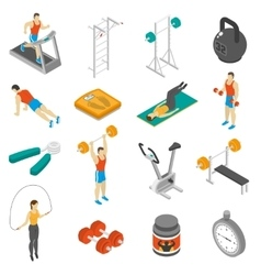 Fitness Isometric Icons Set vector
